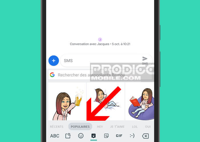 Share Bitmoji stickers from the Android Gboard keyboard